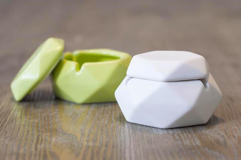 hexagonal porcelain ashtray