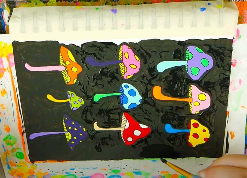 trippy mushroom painting tutorials