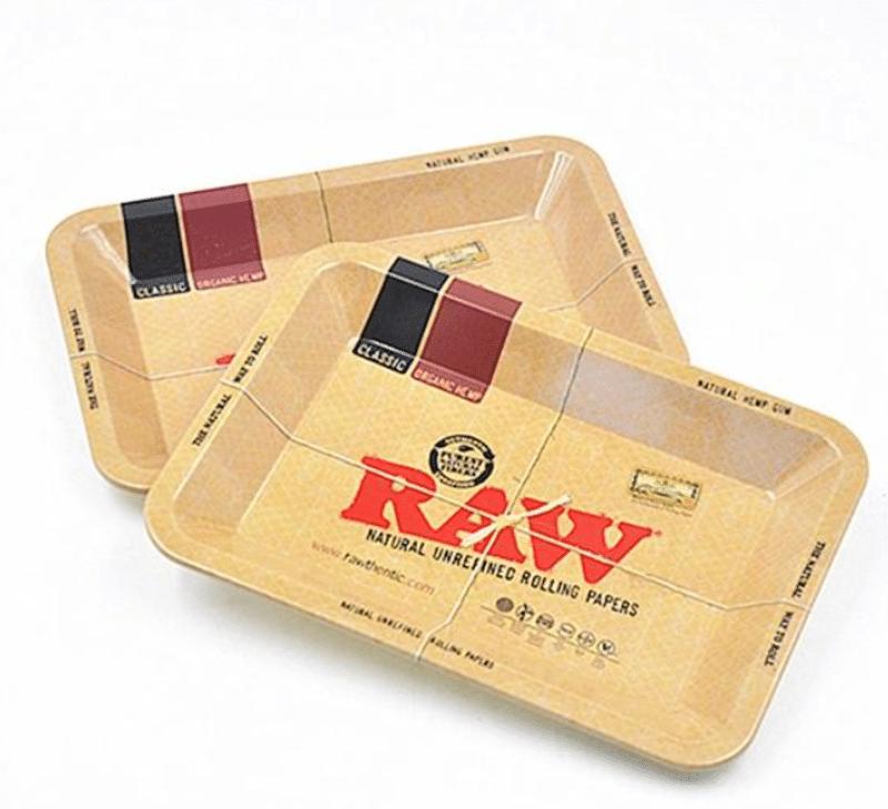 large raw metal rolling tray