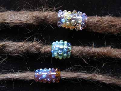 fumed glass dreadlock bead